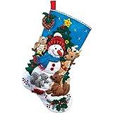 Bucilla 18-Inch Christmas Stocking Felt Applique Kit, 86505 Woodland Snowman
