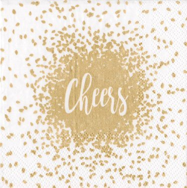 Cocktail Napkins Wedding Napkins Christmas Party Holiday Party Office Party Ideas Gold Cheers Pk 20 ()