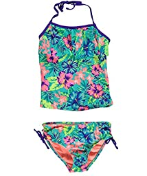 Breaking Waves Big Girls\' Hawaiian Dream Tankini Swimsuit, Multi, 16