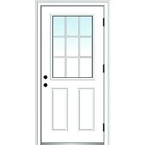 National Door Company ZZ364717L Steel, Primed, Left Hand Outswing, Prehung Door, 1/2 Lite 2-Panel, Grilles Between Glass, 36