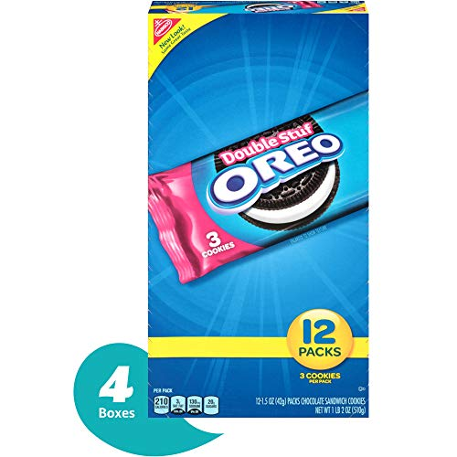 Sweet Cookies Oreo - Oreo Double Stuf 12 Count Chocolate Sandwich Cookies Snack Packs, Chocolate, 18.0 Ounce (Pack of 4)
