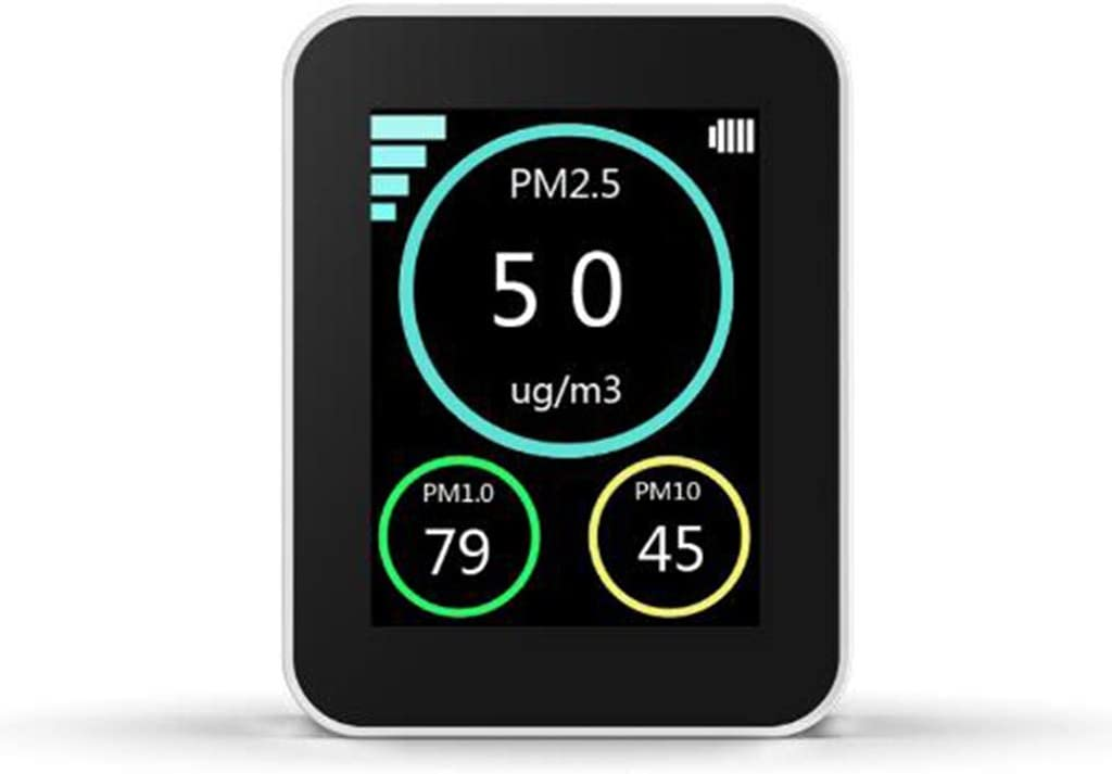 Black Test Indoor Pollution with Temperature Humidity Display for Home Office Professional Air Quality Monitor Formaldehyde Detector Indoor Air Quality Sensor for Detect PM2.5//PM10//HCHO//TVOC//AQI