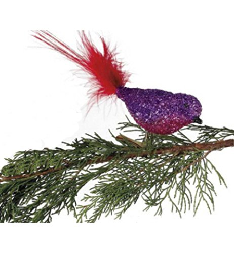 Purple/ Pink Glitter Glass Bird Clip-On with Red Feather Tail Christmas Ornament (Bird Feather Glitter)