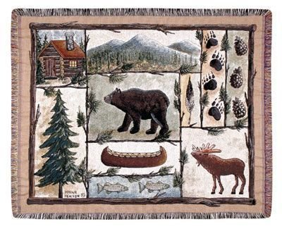 Cabin Fever Moose Bear Lodge Tapestry Throw Blanket 50 x 60 USA Made by Simply Home
