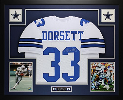 Tony Dorsett Autographed White Cowboys Jersey - Beautifully Matted and Framed - Hand Signed By Tony Dorsett and Certified Authentic by JSA - Includes Certificate of Authenticity Authentic Hand Signed Autograph