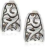 Napier Women's Silver-Tone With Light Antique Hoop Clip On Earrings