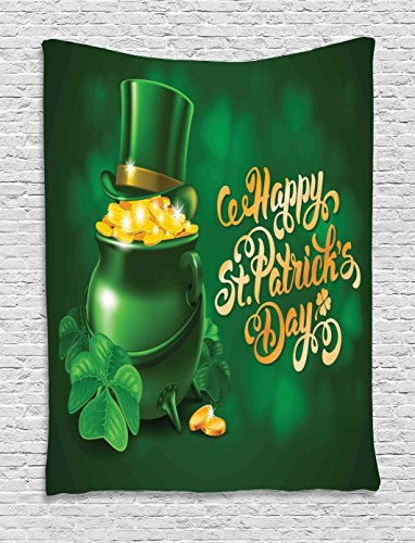 St. Patrick's Day Tapestry Decor by Ambesonne, Large Pot of Gold