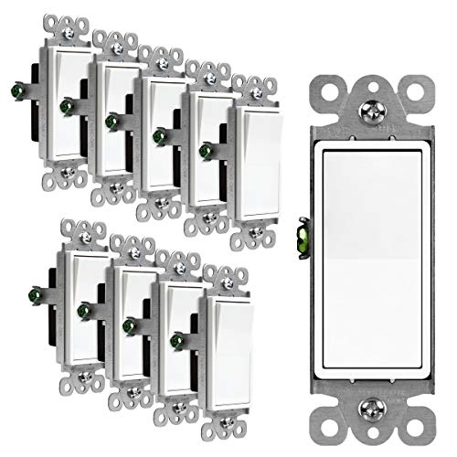 ENERLITES Decorator Paddle Rocker Light Switch, Single Pole, 3 Wire, Grounding Screw, Residential Grade, 15A 120V/277V, UL Listed, 91150-W-10PCS, White (10 Pack)