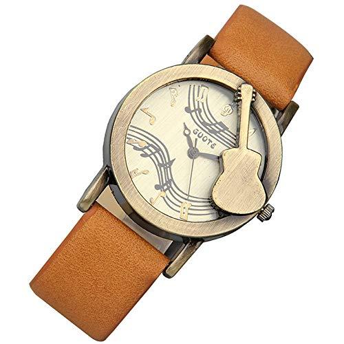 Retro Guitar Sculpture Quartz Watch ,Pastoral Fashion Leisure Belts Watche,Trend Decoration Students