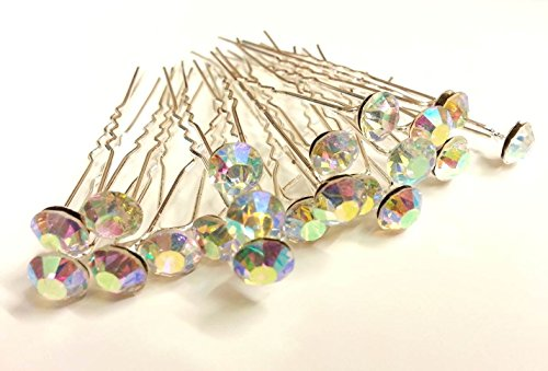 Glass Rhinestone Pin (CraftbuddyUS 20 AB Clear 8mm Glass Crystal Rhinestone Diamante Wedding Bridal Prom Hair Pin)