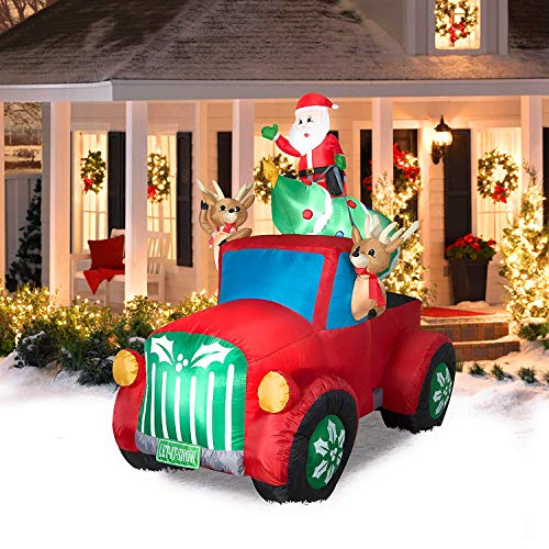 Santa Truck Inflatable Yard Decorations Retro With ...