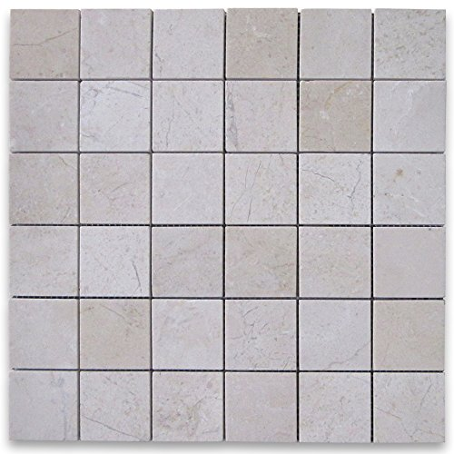 Crema Marfil Spanish Marble Square Mosaic Tile 2 x 2 Polished