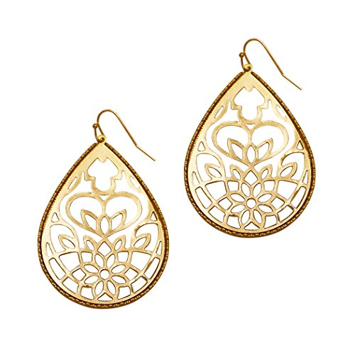 Rosemarie Collections Women's Large Filigree Style Metal Cutout Teardrop Dangle Earrings (Gold Tone) -