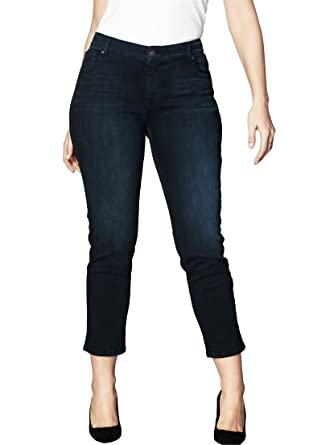 Women's Plus Size Straight Leg Jeans With Invisible Stretch ...