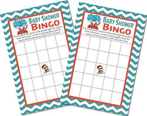 Dr. Seuss Baby Shower Bingo Game Cards - Set of 20 Cards -