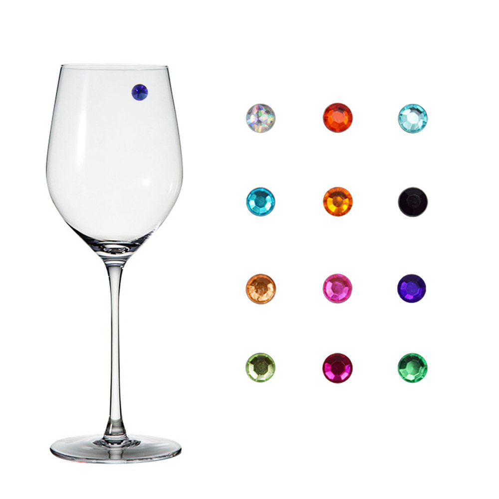 Jukaitai Crystal Magnetic Wine Glass Charms - Drink Markers for Wine, Champagne, Beer and Cocktail Glasses (Set of 12),Great Party or Gift Idea