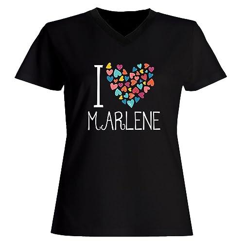 Idakoos I love Marlene colorful hearts - Nomi Femminili - Maglia a V-collo Donna