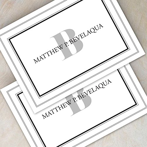 Bordered Monogramed Notecard Foldover Personalized Stationery - Set of 12 cards - 12 plain, white envelopes Photo #7