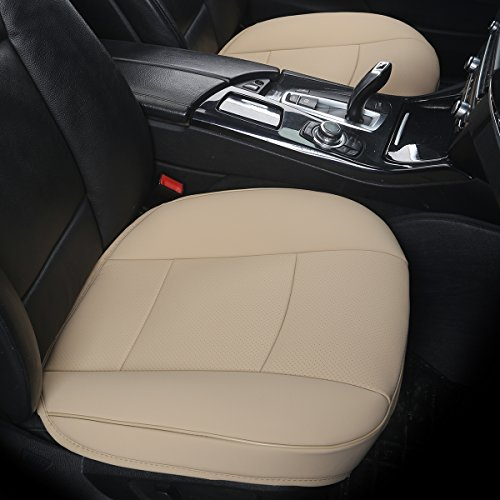 DINKANUR (2 PCS Edge Wrapping Auto Seat Covers PU Leather Car Seat Covers Fit Car Seat Protectors - Without Backrest Front Seat Covers for Cars (Wide 53cm × deep 54cm) (3D-tan)