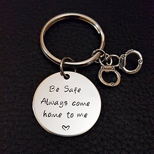 Police Be Safe Key Chain with Handcuffs, Always Come Home to Me, Handstamp, Police Officer Gift, Be Safe Gift