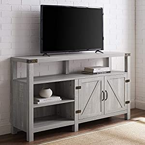 Walker Edison Georgetown Modern Farmhouse Double Barn Door Highboy Storage TV Stand for TVs up to 65 Inches, 58 Inch…