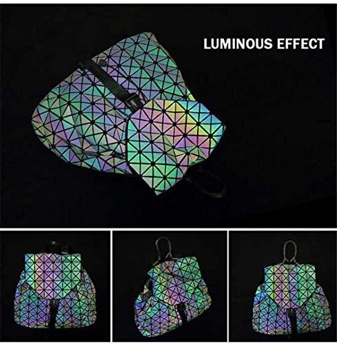 bandoulière étudiant Hologram Small dos à Sac femme D Black Silver géométrique Luminous Luminous Sac à Laser qtF5aa