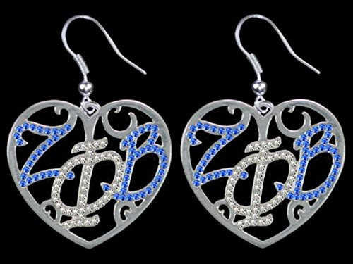 Zeta Phi Beta (ZPB) Sorority Color Crystal Filigree Heart Earrings ()
