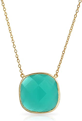 Lariat Necklace Chalcedony Drop 14k Gold Plated Sterling Silver