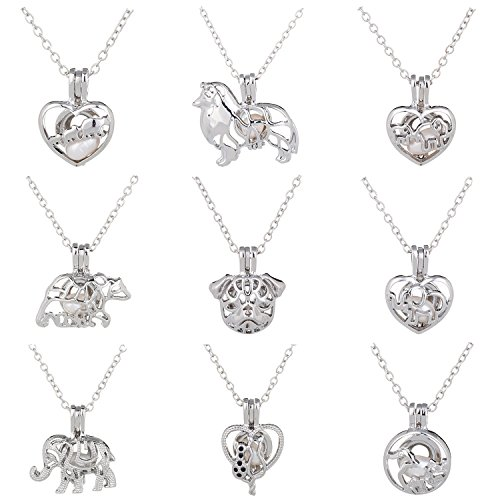 Pearl Oval Set - HENGSHENG 9 PCS Pendant Necklace Sets Pearl Oyster Fitting with Real Oval Pearl in Charm Pearl Cage Necklace for Mothers' Day
