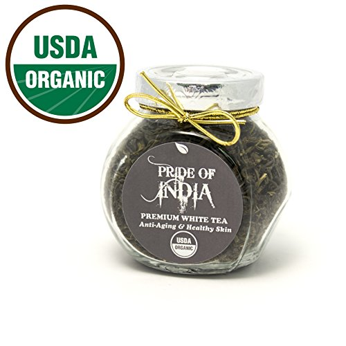 Pride Of India – Organic White Tea, 2oz Gourmet Handmade Jar (Makes 40 Cups)