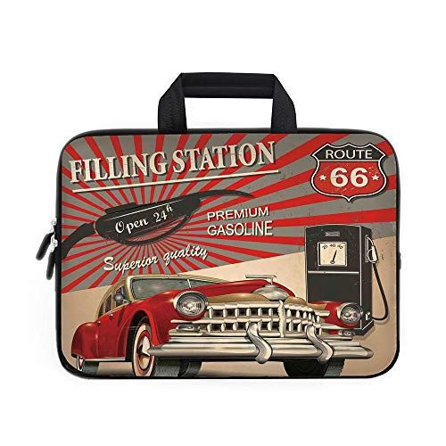 Cars Laptop Carrying Bag Sleeve,Neoprene Sleeve Case/Poster Style Image Gasoline Station Commercial Kitschy Element Route 66 Print Decorative/for Apple Macbook Air Samsung Google Acer HP DELL Lenovo A