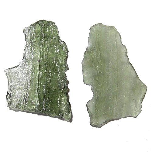Meteorite Moldavite Cluster 33 Pair of 2 Green Cosmic Rocket Crystal Display Stones Energy Healing Meteor 20mm ()