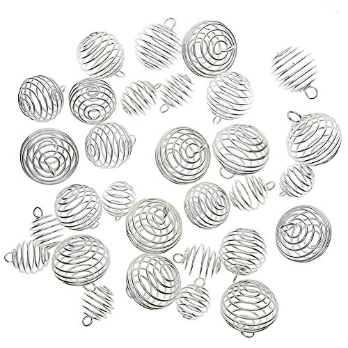 (Keyzone 30 Pieces Silver Plated Spiral Bead Cages Pendants for Jewelry Making, 3 Sizes )