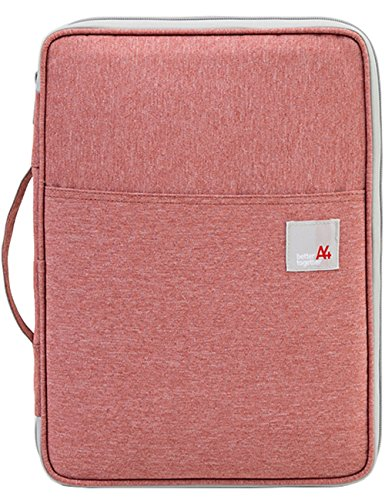 Multi-functional A4 Document Bags Portfolio Organizer-Waterproof Travel Pouch Zippered Case for Ipads, Notebooks, Pens, Documents By Mygreen (Salmon Pink)