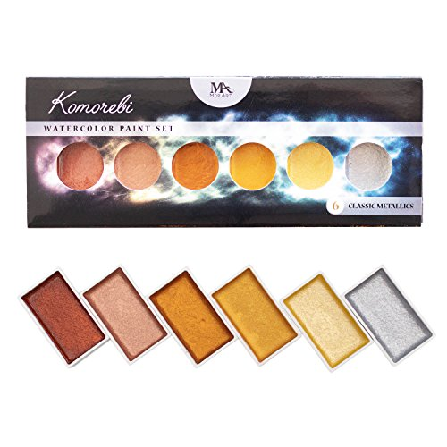 (MozArt Supplies Metallic Komorebi Watercolor Paint Set, with 6 Shimmery Colors, Portable and Lightweight, Perfect for Artists, Students & Hobbyists)