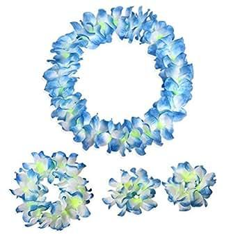 Hawaiian Luau flower Leis Jumbo necklace bracelets headband set(Blue)