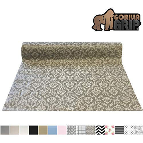 Gorilla Grip Original Smooth Top Slip-Resistant Drawer and Shelf Liner, Non Adhesive Roll, 17.5 Inch x 20 FT, Durable Kitchen Cabinet Shelves Liners for Kitchens Drawers and Desks, Damask Beige