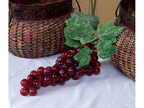 Cheap CC Home Furnishings Pack of 6 Country Vineyard Artificial Purple Grape Clusters with Leaves 14″