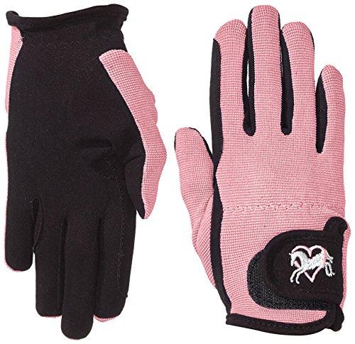 Riders Trend Damen Reiter Handschuhe Reithandschuhe Amara Palm mit Elastan-material Atmungsaktive, Black/Pink, CM, 1007064