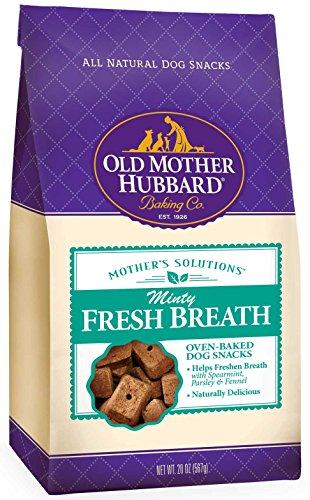 Old Mother Hubbard Mother's Solutions Minty Fresh Breath Crunchy Natural Dog Treats, 20-Ounce Bag (Dental Biscuits)