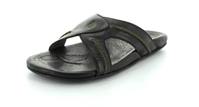 320e86b91 OluKai Men s Leather MEA Ola Slide Sandal 10 D(M) Us Black Black ...