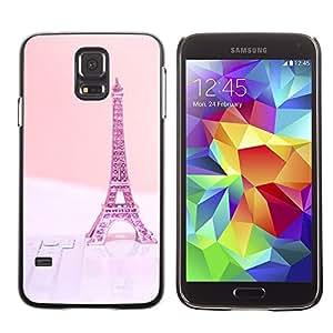 TopCaseStore / la caja del caucho duro de la cubierta de protección de la piel - Eifel Paris Pink Peach France - Samsung Galaxy S5 SM-G900