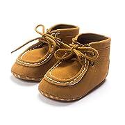 Kuner Baby Boy's Faux Suede Lace-up Prewalker Hi-top Toddler Shoes (11cm ( 0-6 Months), Khaki)