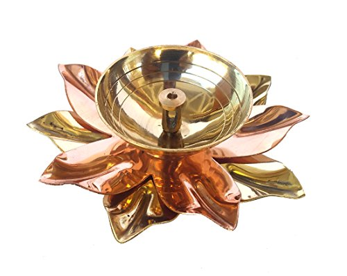 (Rastogi Handicrafts Pure Brass & Copper Kamal Lotus Flower Shape Diya Puja Lamp Hindu Pooja Article Diyas Deepak Oil Lamp 6 to 4 inch (4 INCH))