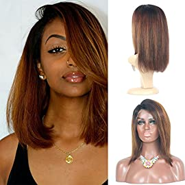 13×6 Lace Front Wigs Human Hair Pre Plucked Hairline with Baby Hair Short Bob Wigs for Black Women Brazilian Virgin Hair Straight 10 inch