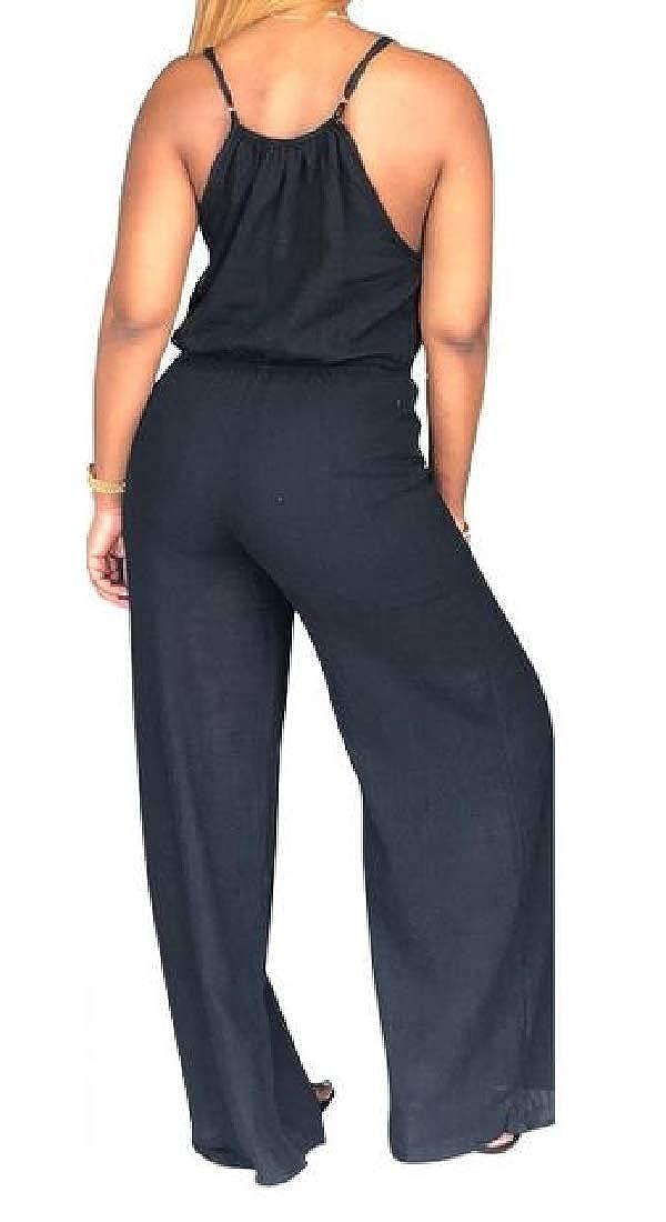 Lutratocro Women Spaghetti Strap Playsuit Wide Leg Low Cut Summer Jumpsuit