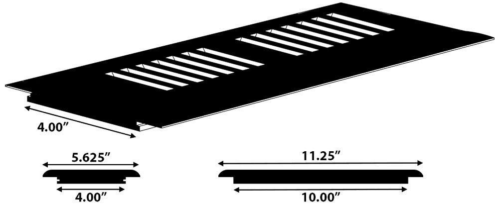 MoldingsOnline 2016912692 B-Series Surface Mount Vent 4 x 12-Inch Moldings Online