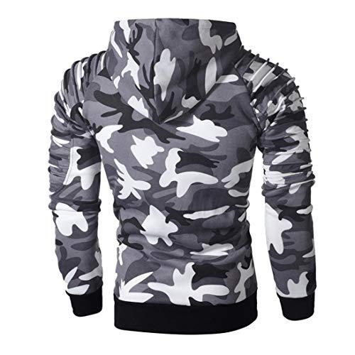 Mens' Long Sleeve Hoodie Sweatshirt Pullover Camouflage Hoodie Sweatshirt Tops Autumn Jacket Outwear (Gray, L) by Hattfart Hooded Sweatshirt (Image #2)