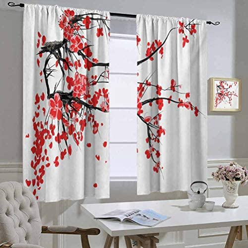 Mozenou Floral Curtain Panels Japanese Cherry Blossom Sakura Blooms Branch Spring Inspirations Print Protection of Private Life 55×45 Inch Vermilion Brown White
