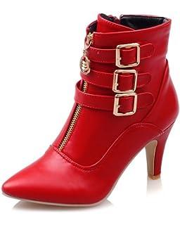 SHOWHOW Damen Sexy Kurzschaft Stiefel Stiefelette Mit Stiletto Weiß 33 EU